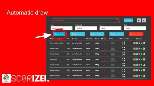 sorteo automático scorizer (c) software