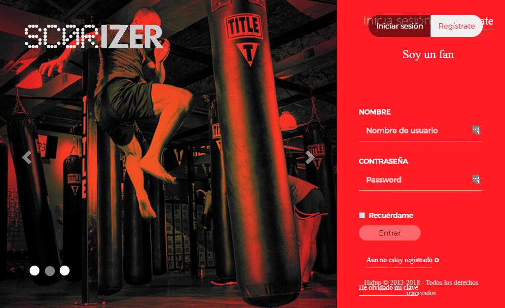 Captura de pantalla de la web suite scorizer 2020